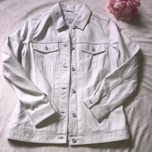 DENIM & CO | White Leather Jacket | XS